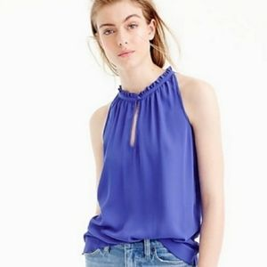 J. Crew Ruffle Neck Top | key hole | blue | sz 2